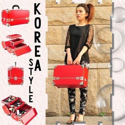 ☆彩妝大師☆100%韓國製造空運 紅色大雙層漸層款 紙纖維彩妝箱 紙纖化妝箱