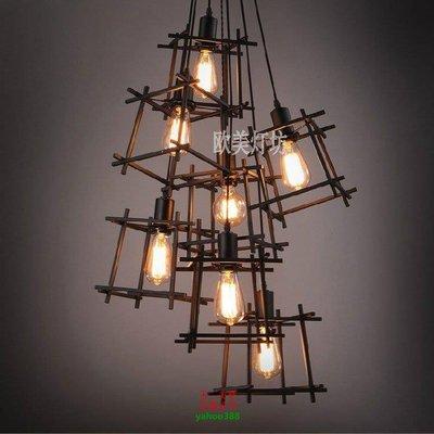 {美學}美式簡約復古餐廳客廳過道鐵藝吊燈MX_1752