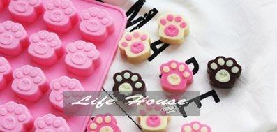 Life House 16孔 貓腳掌愛心造型 -手工皂模/巧克力模/果凍模具..--食品級環保矽膠模