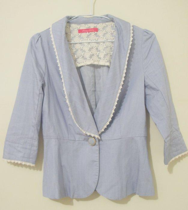 ( 幾乎全新B24) 日本購入 - Pinky Girl 淡藍色併接蕾絲氣質外套 Size S