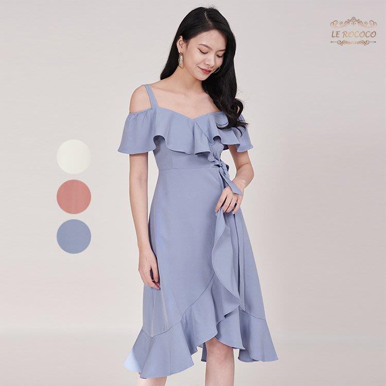 Le Rococo 露肩荷葉邊綁帶氣質洋裝 修身顯瘦禮服 連衣裙 連身裙 謝師宴 尾牙 洋裝 禮服 【RO25F】