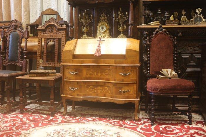 【家與收藏】特價稀有珍藏歐洲百年古董義大利古典優雅精緻手工inlaid鑲嵌仕女寫字桌/櫃