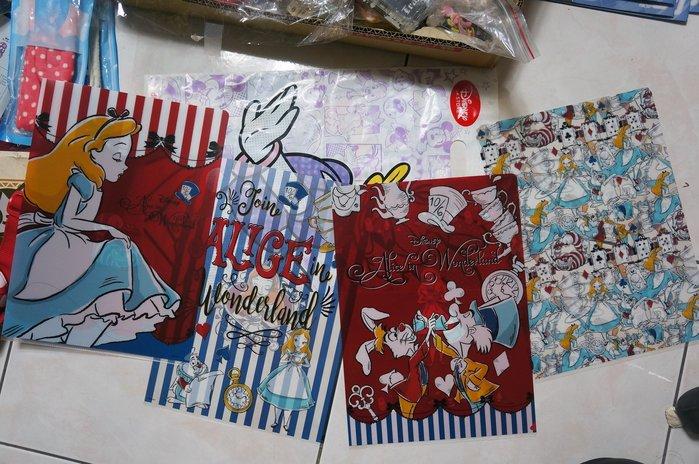 瘋日本*迪士尼STORE 迪士尼 愛麗絲 奇幻手繪 4入組 主 文件夾/L夾 特價200元