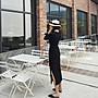 韓系時尚V領連身雪紡開岔長洋裝 (五分袖款) Gssaw.AJ【JK008-1】✪另有長袖款哦  ❌現貨L