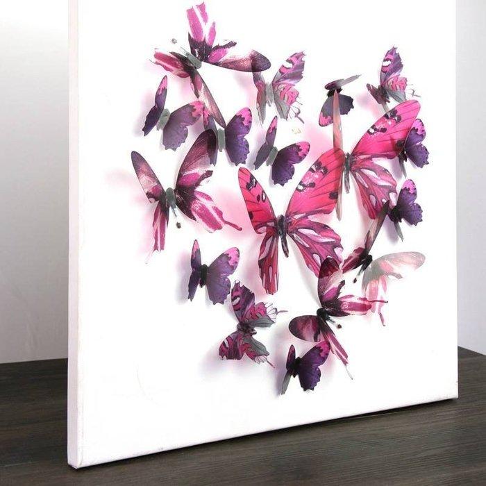 ☆║♥愷心小舖♥║☆歐美進口創意立體 3D 浪漫 蝴蝶  化妝室 臥房  婚佈背景 牆壁 華麗~超值18隻一套!梅紅色款