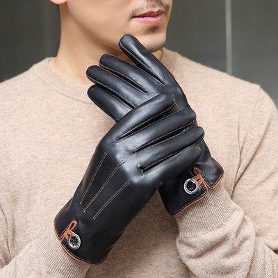 觸控手套 真皮手套-山羊皮加絨紐扣裝飾男手套73wm24[獨家進口][米蘭精品]