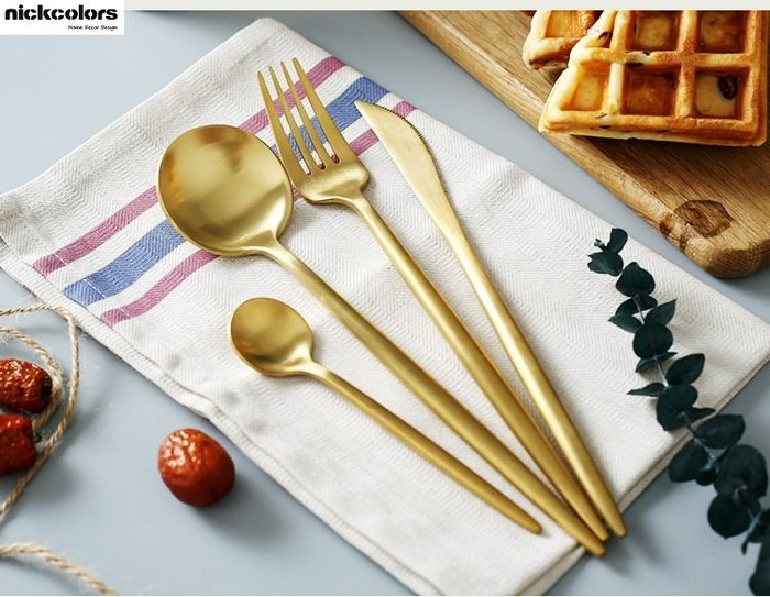 尼克卡樂斯~葡萄牙設計304不鏽鋼鍍金西餐餐具4件套組刀叉組 西餐餐具組 北歐餐具 西餐廳精品餐具