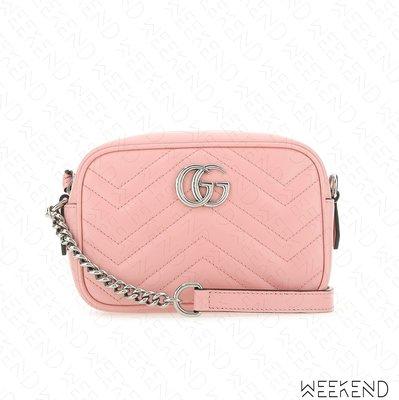 【WEEKEND】 GUCCI Mini GG Marmont 迷你 皮革 山形紋 肩背包 相機包 淺粉色 634936
