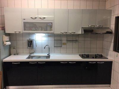 喜室廚具 韓國三星人造石+水槽櫃正白鐵#304+E1 V313系統板櫃體+美耐板