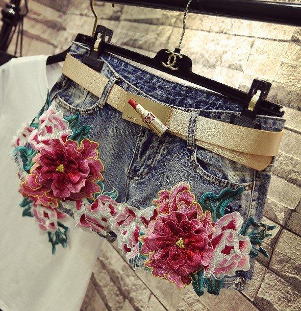 【An Ju Shop】韓國風 超火ins短褲女夏款刺繡牡丹闊腿顯瘦牛仔短熱褲~OB266901