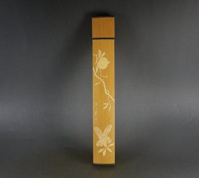 留青竹刻香筒- 花鳥- 手工頂級臥香筒 - 雕工細緻入微.... 7吋 ...M531