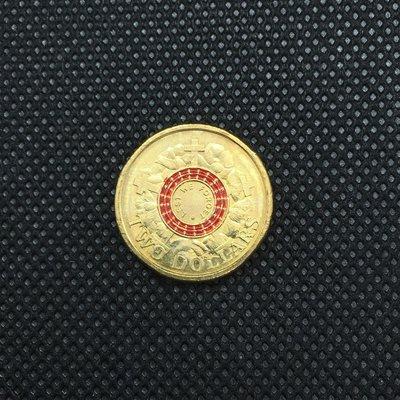 """澳洲紀念幣 2015年紀念澳新軍登陸100週年 罌粟花 """"以免我們忘記"""" $2 硬幣 / UNC 錢幣 澳大利亞 ANZAC 彩色硬幣"""
