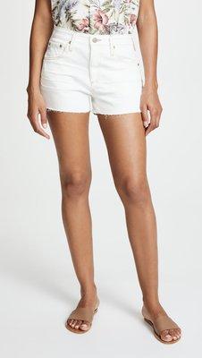 ◎美國代買◎AG Brynn 剪破式抽鬚褲口高腰白色牛仔短褲