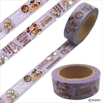 《散步生活雜貨-和紙膠帶》日本進口 Disney -  米奇&米妮  單捲 紙膠帶 15mmx10m - 82820