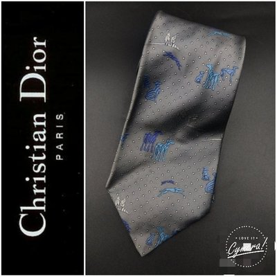近新Dior法國CD 手打 領帶 純絲質 窄版領帶$188 1元起標真品 襯衫皮鞋Christian Dior 非LV