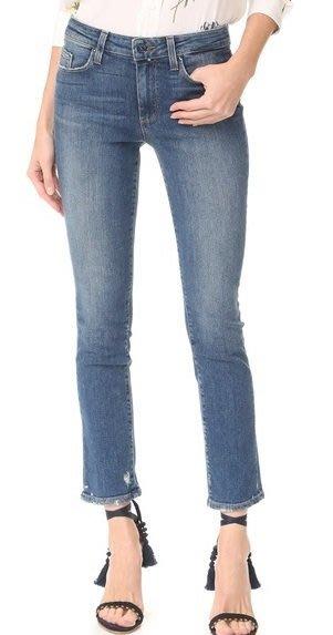 ◎美國代買◎PAIGE Julia Straight Leg微刷破褲口小直筒剪裁淺藍刷色褲口刷破小直筒八分牛仔褲