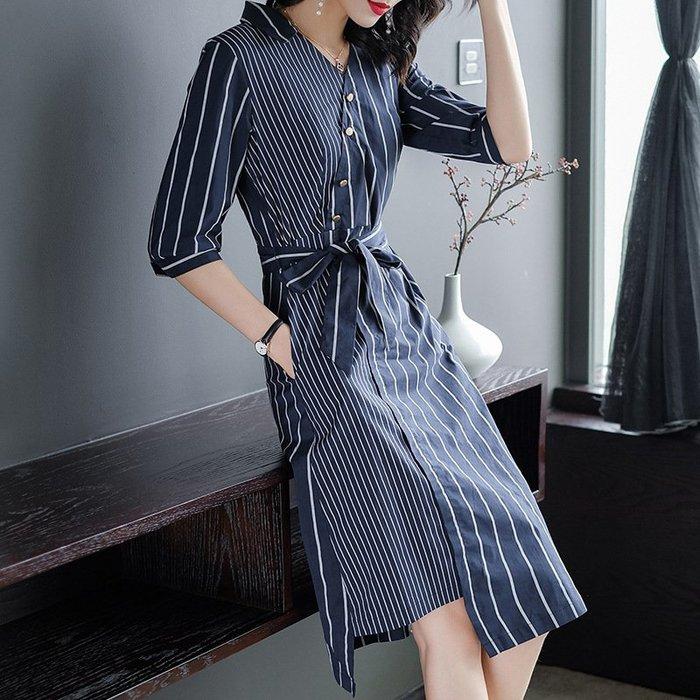 【本店推薦】春夏連身裙新款袖襯衫領系帶收腰顯瘦字中長款條紋洋裝OL通勤