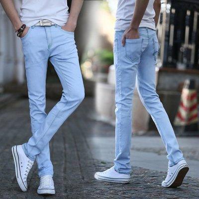 新款男式牛仔褲韓版青春流行小腳牛仔褲潮男彈力修身 Y801