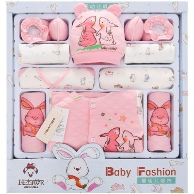 秋冬18件加厚禮盒純棉新生兒滿月寶寶內衣服裝用品嬰兒禮盒套裝 動物園 小兔子款 基隆市