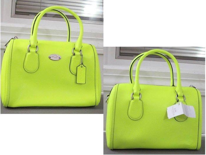 美國正品 COACH 34697 黃色螢光感 防刮皮革手提/斜背包