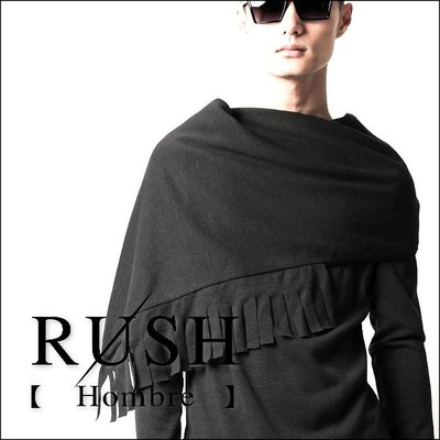 RUSH Hombre (曼谷空運) 設計師款不對稱側扣式寬流蘇繞領長袖上衣-深灰 (男女皆可) (原價980)
