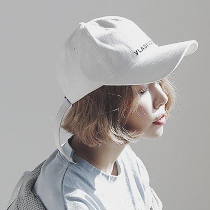 棒球帽女夏天字母刺繡長帶子白色鴨舌帽潮人時尚百搭遮陽