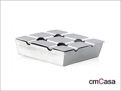 = cmCasa = [3667]北歐風格品味設計 布朗格紋不鏽鋼方形煙灰缸 豪宅新居House Warming精選