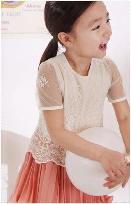 艾町Eyeing Shop 🈶現貨 韓國童裝strawberry coral夏裝新品蕾絲雪紡拼接女童短袖連身裙公主裙