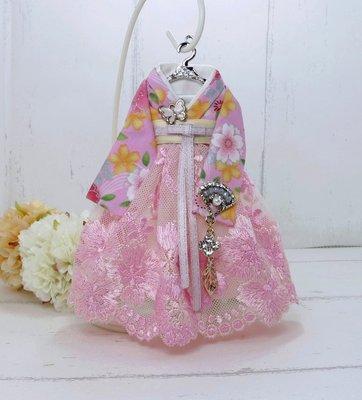 檸檬手作飾品  粉黃花中式漢服手作鑰匙圈/包包吊飾
