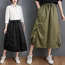 ♡ 右米衣飾 ♡ 日系 文藝 中大尺碼 百搭基本款抽繩A字半身裙