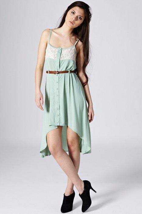 現貨UK10 UK12可穿 冰沙薄荷綠色雪紡材質前短後長 蕾絲浪漫細肩帶夏日法式洋裝 附皮帶