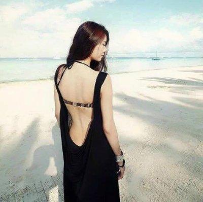 ☆ 韓國爆款-馬爾地夫海邊度假波西米亞长裙 比基尼外罩衫性感露背沙滩裙@ 【韓比基尼罩衫配件 】