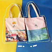 【小叮噹包包閣】趣味動物帆布包文藝女單肩包小清新休閑學生手提袋環保袋