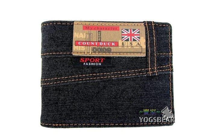 【YOGSBEAR】I 男女適用 短夾 皮夾 零錢包 卡包 帆布皮夾 皮包 錢夾 加長型 二折短夾 牛仔布 黑