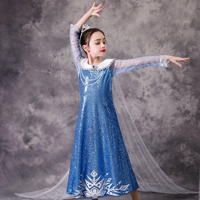 •*~ 辣媽咪衣飾小舖 ~*•❤童裝系列❤K990219韓版大童夏款冰雪奇緣艾莎公主洋氣長袖禮服洋裝