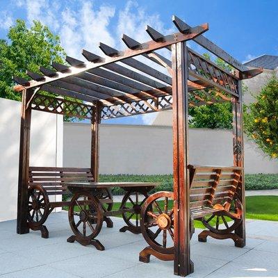 【好材質】戶外涼亭亭子庭院葡萄架遮陽棚防腐木花架花園碳化木桌椅移動木屋【念家優品】