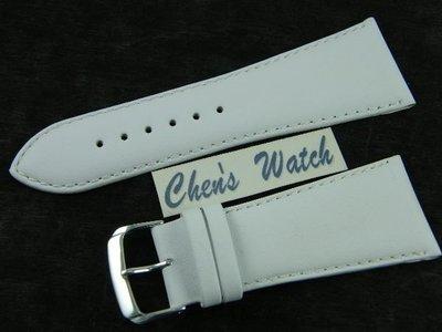 【錶帶家】30mm 收尾 22mm『嚴選』LIMA 義大利進口小羊皮錶帶素面真皮錶帶 白色