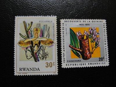 【大三元】非洲郵票-盧安達郵票-花~新票2枚