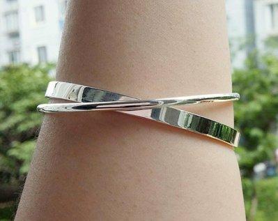 嗨,寶貝銀飾珠寶* 925純銀☆999純銀 時尚精品 光面雙環 實心純銀手環 手鐲