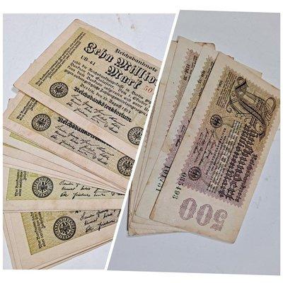 德國馬克1923 一千萬(15張)、五億(9張)共24張,每張=50元,100年舊鈔、保存佳,通貨膨脹的歷史功課與證據,皆單面,大特價!