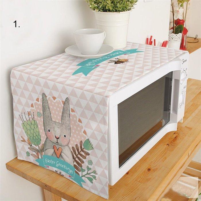 布藝微波爐罩韓式卡通兔子微波爐蓋布蓋巾防塵布藝罩廚房裝飾布