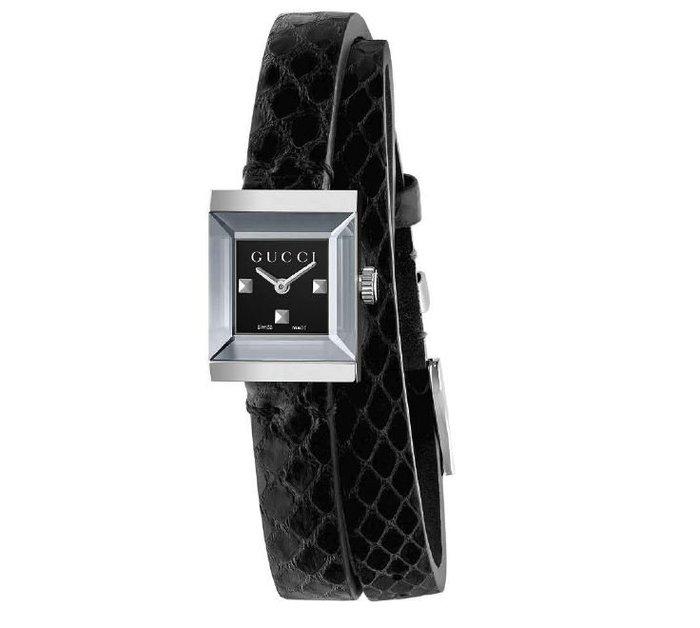 GUCCI YA128526 古馳 手錶 14x18mm G-Frame 精緻小錶面方型 蛇皮壓紋皮錶帶 手環 女錶