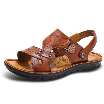 涼 鞋 真皮拖鞋-夏季休閒百搭透氣男鞋子3色73sa18[獨家進口][米蘭精品]