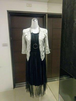 琳達購物中心-實品拍攝-莫代爾黑色背心紗裙洋裝