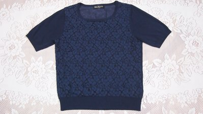CLEAR IMPRESSION蕾絲藍色短袖上衣