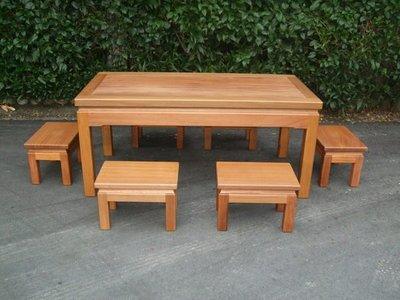 A022 {崙頂傳統原木家具行}~邊框實木餐桌配實木椅跟  接受訂作 訂色