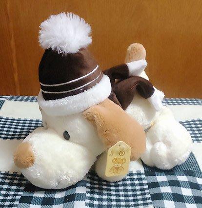 {欣娃小舖}~戴帽子 圍巾 狗造型 絨毛娃娃