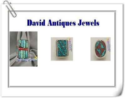 ((天堂鳥)) 天然綠松石銀戒 * 土耳其石造型古董戒一組兩件  不二價