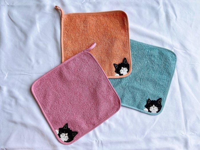 日本卡拉貓~kuro抗菌棉洗臉毛巾 小毛巾