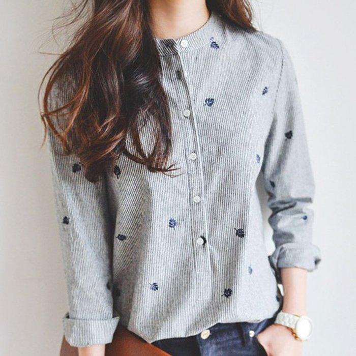(全館一件免運費)立領楓葉刺繡長袖襯衫 (XA-8188)